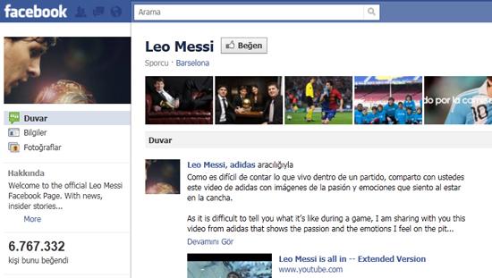 Messi nin leo isimli facebook eni sayfas