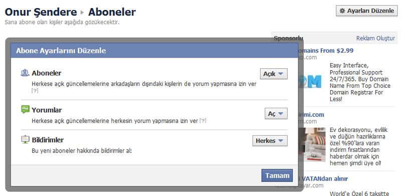 facebook takip kapat
