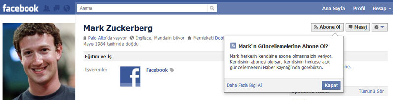 Yeni bir facebook özelliği abonelik