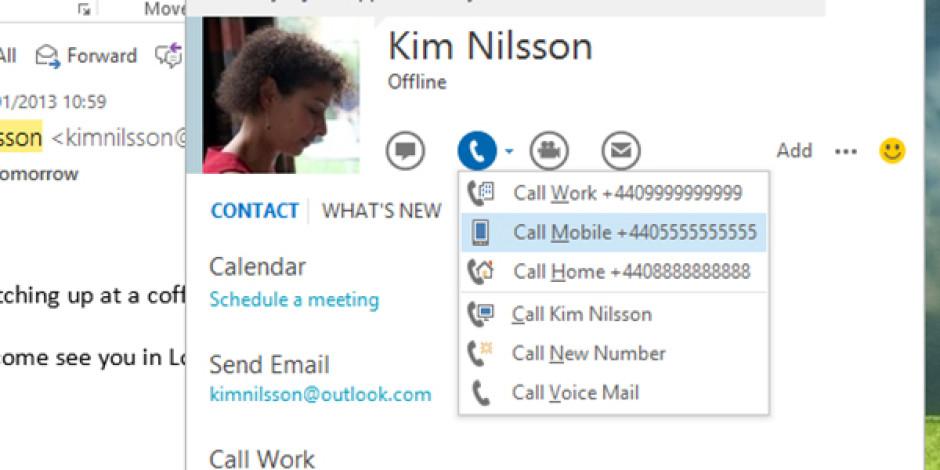 Microsoft Outlook'u Skype'a Entegre Etti