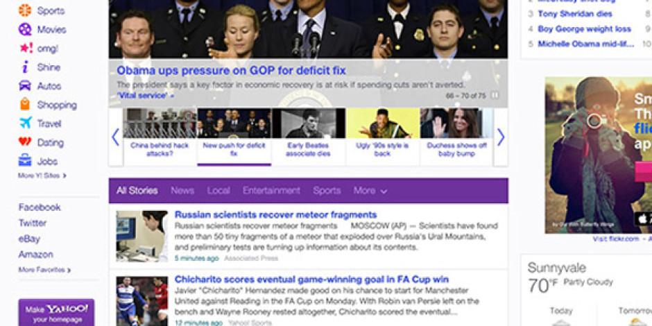 Yahoo Ana Sayfasını Yeniledi