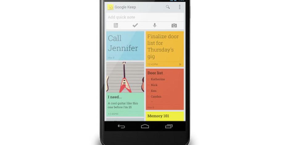 Google'ın Yeni Not Alma Uygulaması Keep Yayınlandı