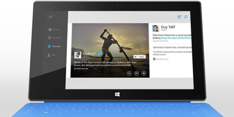 Twitter, Windows 8 ve RT Uygulamasını Yayınlandı