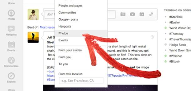 Google+ Arama Filtrelerine Fotoğraf Seçeneği Eklendi