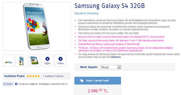 Turkcell Galaxy S4 Satışı