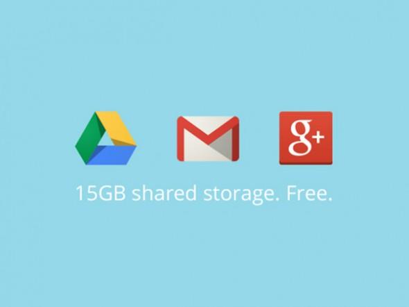 Google Gmail, Drive ve Google+'ın Depolama Alanı 15 GB'de Birleşti