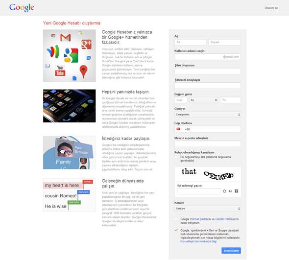 Google Hesap Açma