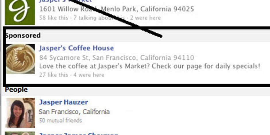 Facebook Sponsorlu Arama Sonuçlarını Kaldırıyor