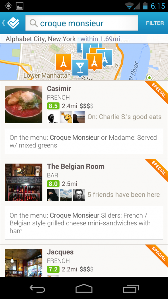 Foursquare Menü Araması