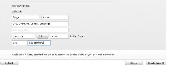 Apple ID Adres Bilgisi
