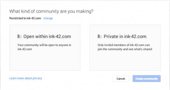 Google+ Restricted Communities