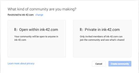 Google+ Restricted Communities