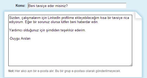 LinkedIn-tavsiye