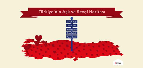 Yandex'ten 14 Şubat'a Özel Türkiye'nin Aşk ve Sevgi Haritası