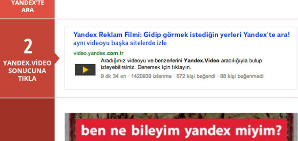 Yandex'ten Erişilemeyen Videolar İçin Türkiye'ye Özel Arama Servisi