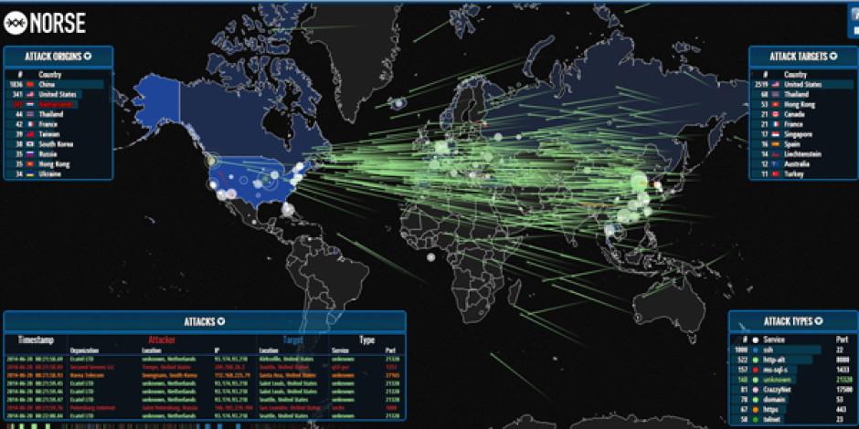 Gerçek zamanlı, interaktif siber savaş haritası: map.ipviking.com