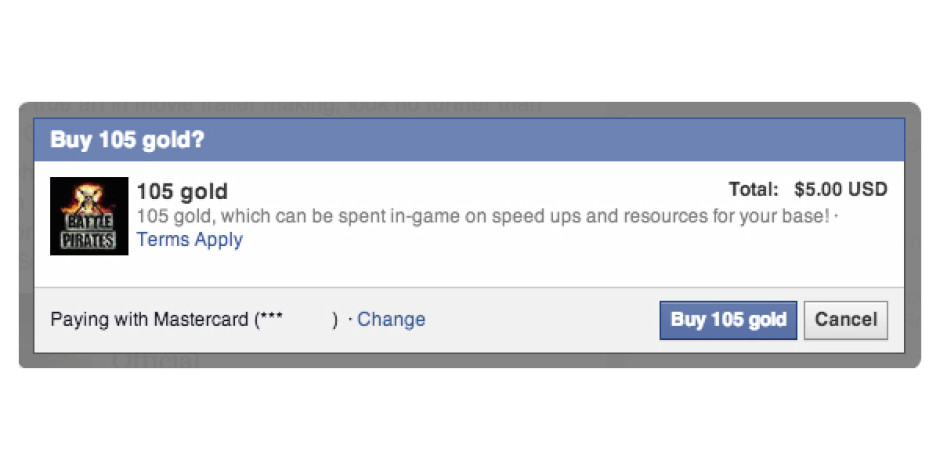 Facebook oyun içi satın almalar için masaüstü reklamlarını duyurdu