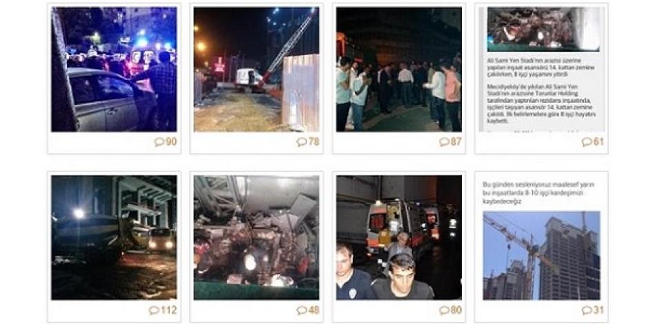 Sosyal medyanın gündemi #KazaDegilCinayet etiketiyle Mecidiyeköy'de 10 işçinin ölümü