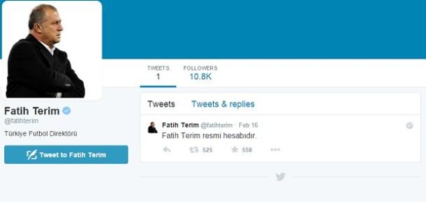 Fatih Terim, Twitter'a adım attı