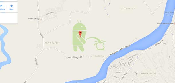 Google Haritalar'da ilginç görüntü: Android Apple'ın logosuna işiyor