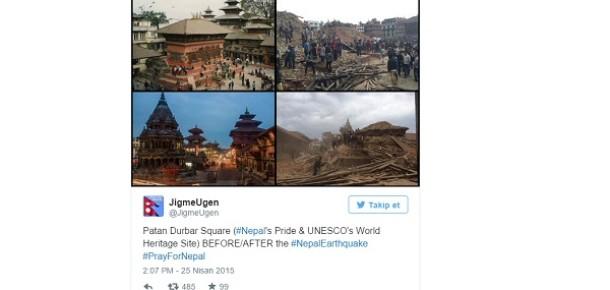 Bakarken yaralayan 10 Tweet'le Nepal'de depremden öncesi ve sonrası