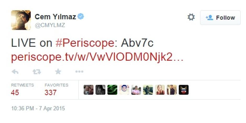 Periscope'u Türkiye'de kullanan 4 ünlü