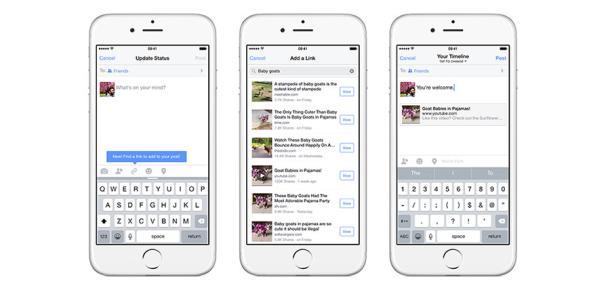 Facebook iOS uygulamasında yazıya link eklemeyi kolaylaştırdı