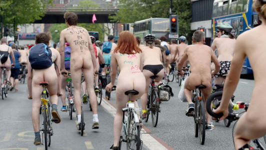 Naked cyclists take to the streets of Manchester as part of the World Naked Bike Ride Naked Bike Ride, Manchester, Britain - 12 Jun 2015  (Rex Features via AP Images)