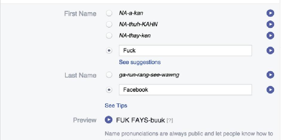 """Facebook'un isim telaffuz aracı ile """"gerçek isim"""" politikasını trollemek mümkün!"""