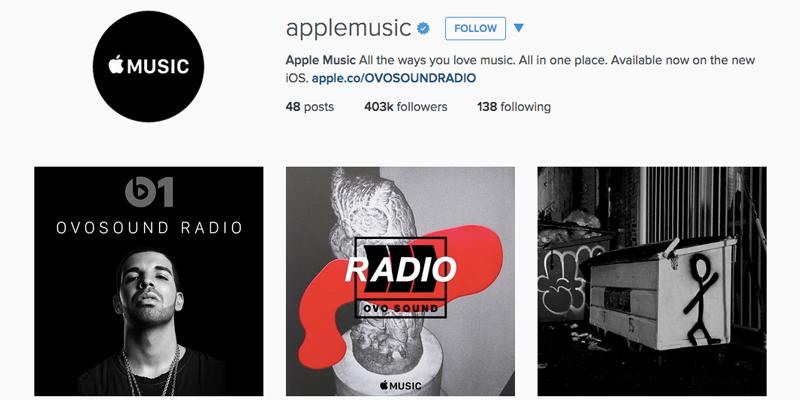 applemusic-instagram sayfası