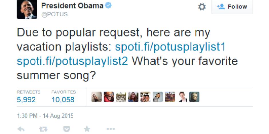 Başkan Obama Twitter'da Spotify playlistini paylaştı