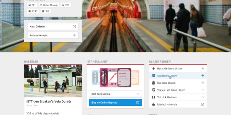 İETT'nin yeni web sitesi ve tasarımı