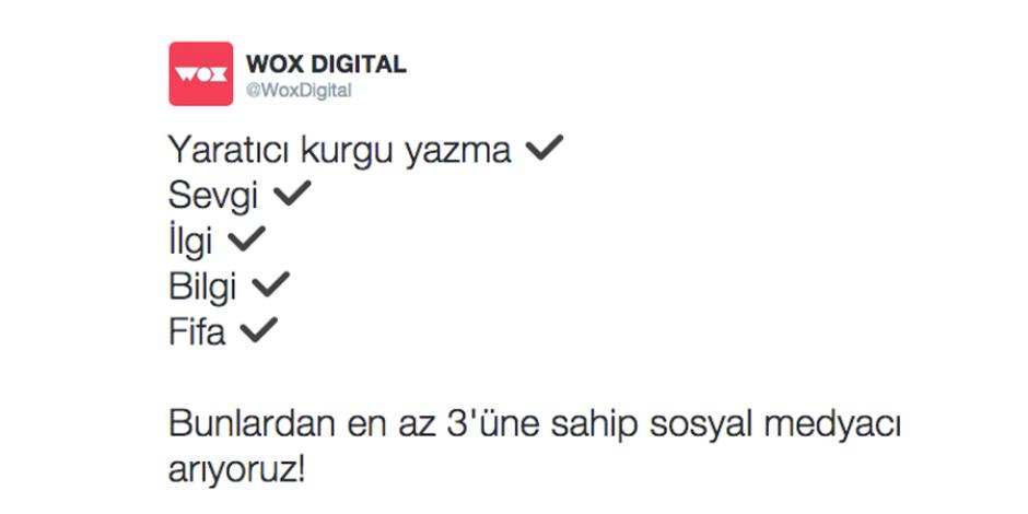 Wox Digital'in Twitter'dan dikkat çeken sosyal medya uzmanı iş ilanı