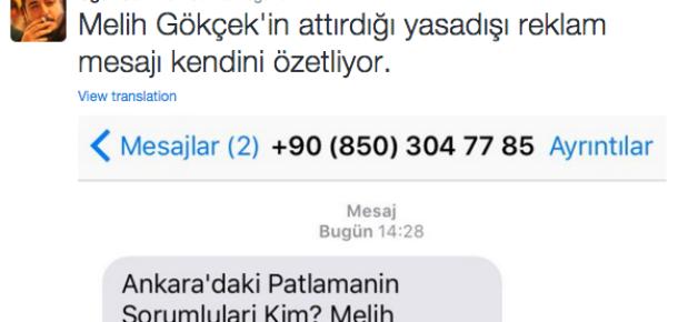 Melih Gökçek için gönderilen spam SMS'e sosyal medya tepki gösterdi