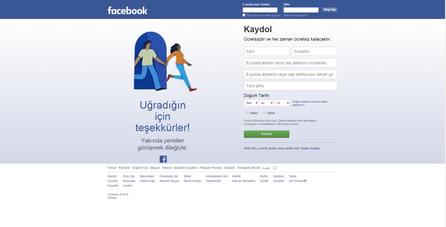facebook garip log out tasarımı