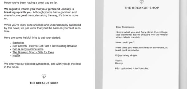 Sevgililerinden ayrılamayanlar için dev hizmet: The Breakup Shop