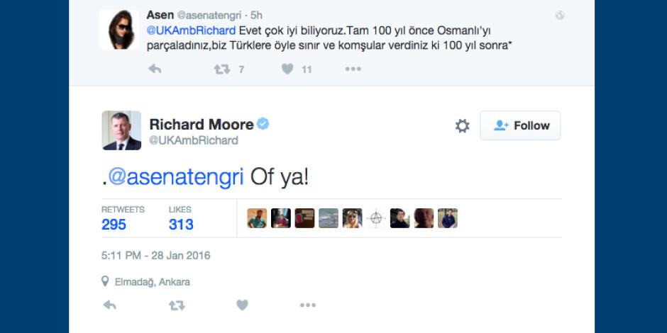 İngiliz Büyükelçisi Richard Moore'ı Twitter kullanıcıları çıldırttı