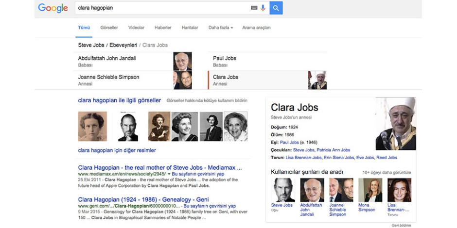 Google da hata yapar: Steve Jobs'un annesinin fotoğrafı yerine Fethullah Gülen fotoğrafı