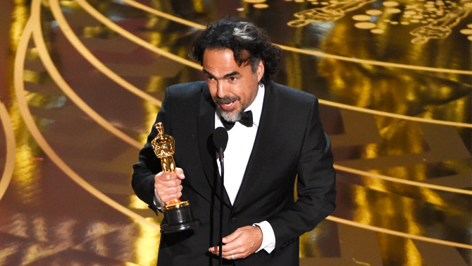 """Alejandro G. Inarritu accepts the award for best director for """"The Revenant"""" at the Oscars on Sunday, Feb. 28, 2016, at the Dolby Theatre in Los Angeles. (Photo by Chris Pizzello/Invision/AP)"""