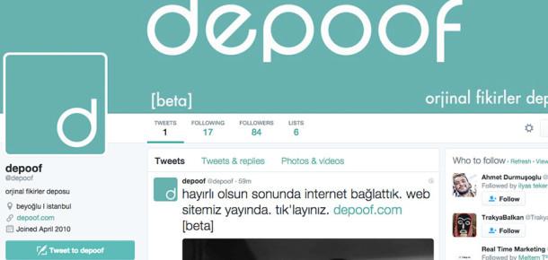 Resmi sitesini Twitter üzerinden oluşturan ajans: depoof