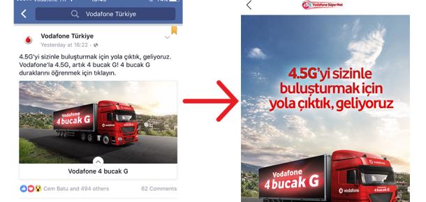 Vodafone Facebook'un canvas özelliğini Türkiye'de ilk kullanan markalardan biri oldu
