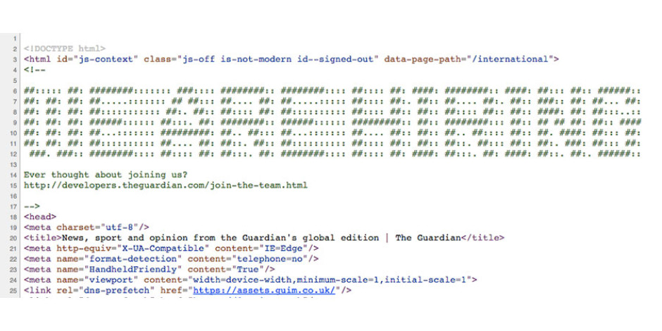 The Guardian gazetesinden zekice gizlenmiş yazılımcı ilanı