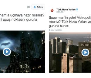 Türk Hava Yolları'ndan Batman V Superman filmine özel reklam