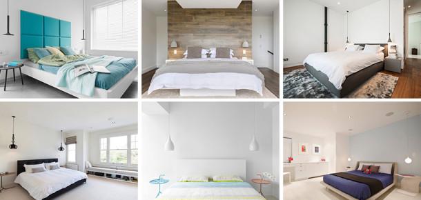 Yatak yanındaki asma lambalar için en iyi 21 örnek