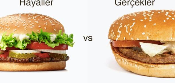 Fast Food markalarının lezzetli reklamları ve gerçekte olan ürünleri