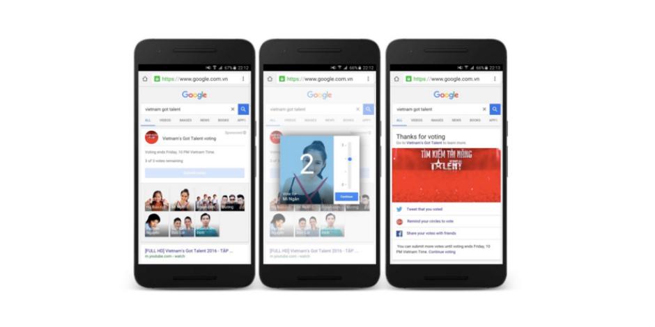 Google'dan ikinci ekran örneği: Yetenek Sizsiniz'i Google üzerinden oylama
