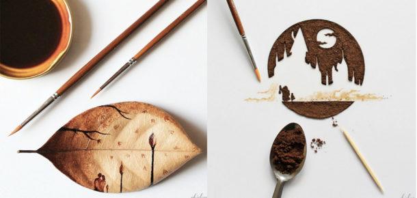 Kahveden yapılmış muhteşem çalışmalar