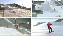 Fransa'da kar kullanılmadan hazırlanan yapay kayak pisti!