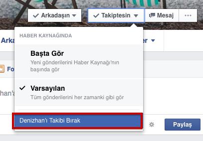 facebook takip etmediğim halde