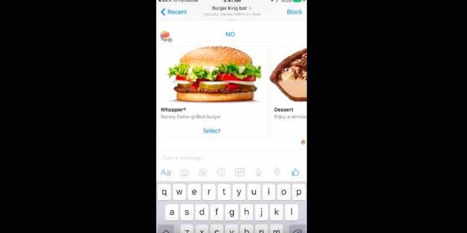 Burger King'in Messenger Botunun demosu gerçekten çok iyi